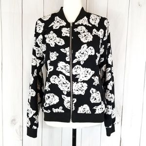 Say What? Floral Bomber Style Zip Up Jacket